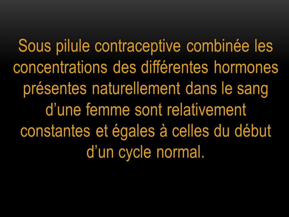Sous pilule contraceptive combinée les concentrations des différentes hormones présentes naturellement dans le sang dune femme sont relativement const