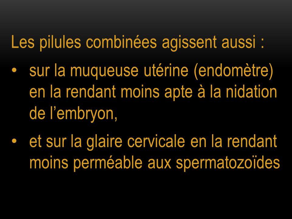 Les pilules combinées agissent aussi : sur la muqueuse utérine (endomètre) en la rendant moins apte à la nidation de lembryon, et sur la glaire cervic
