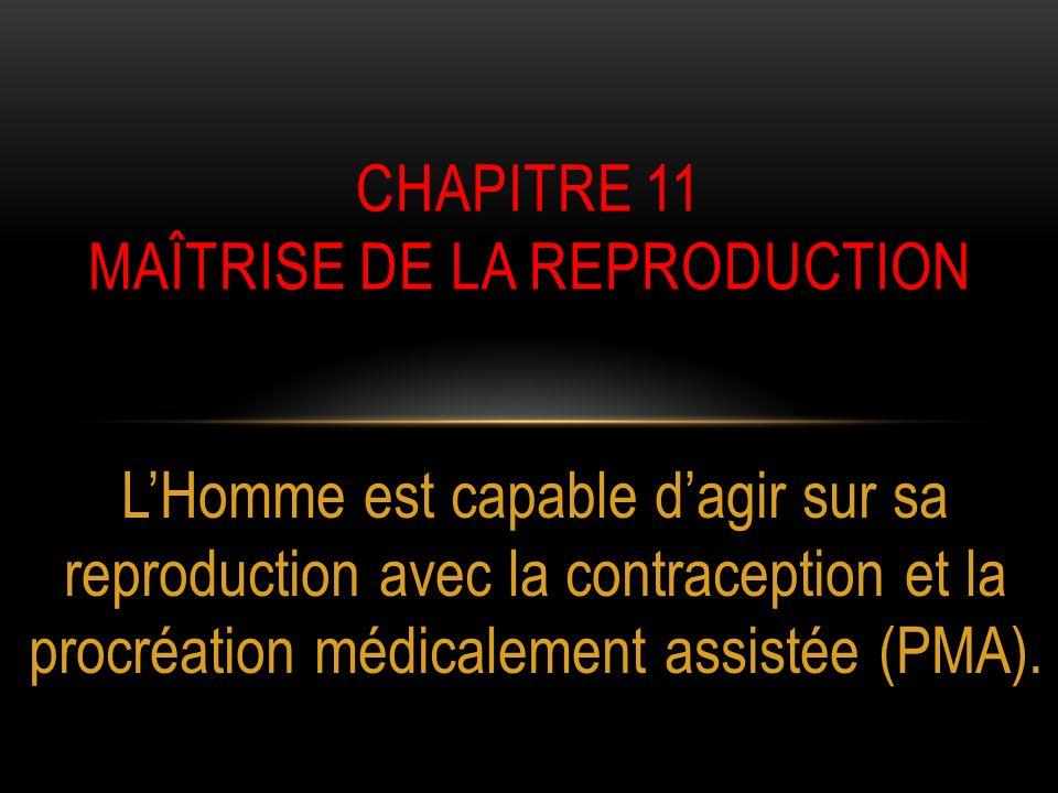 LHomme est capable dagir sur sa reproduction avec la contraception et la procréation médicalement assistée (PMA). CHAPITRE 11 MAÎTRISE DE LA REPRODUCT