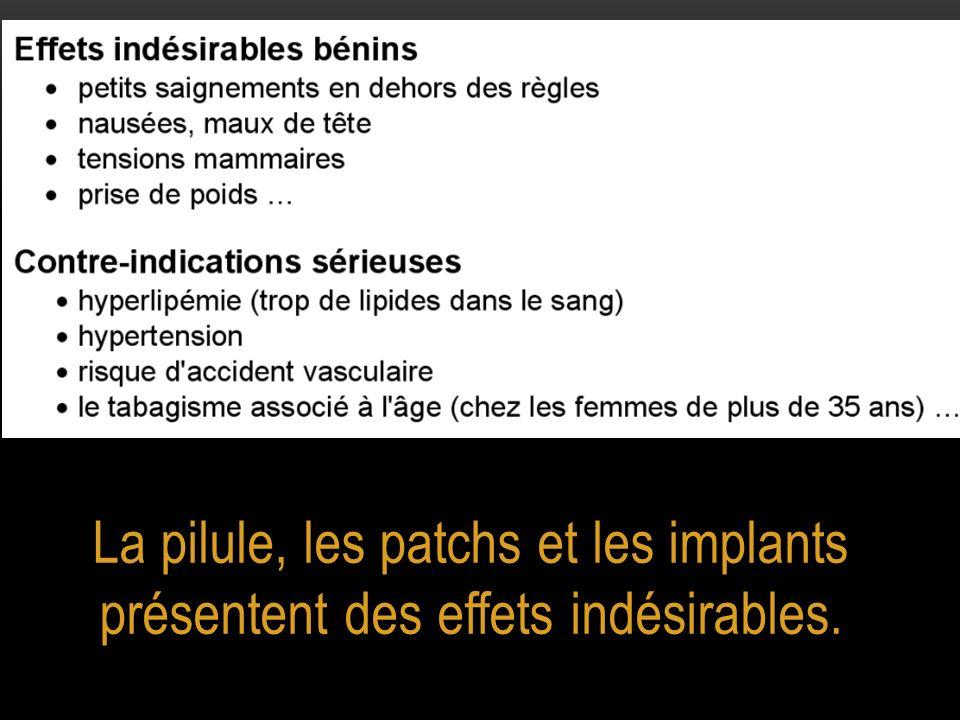 La pilule, les patchs et les implants présentent des effets indésirables.