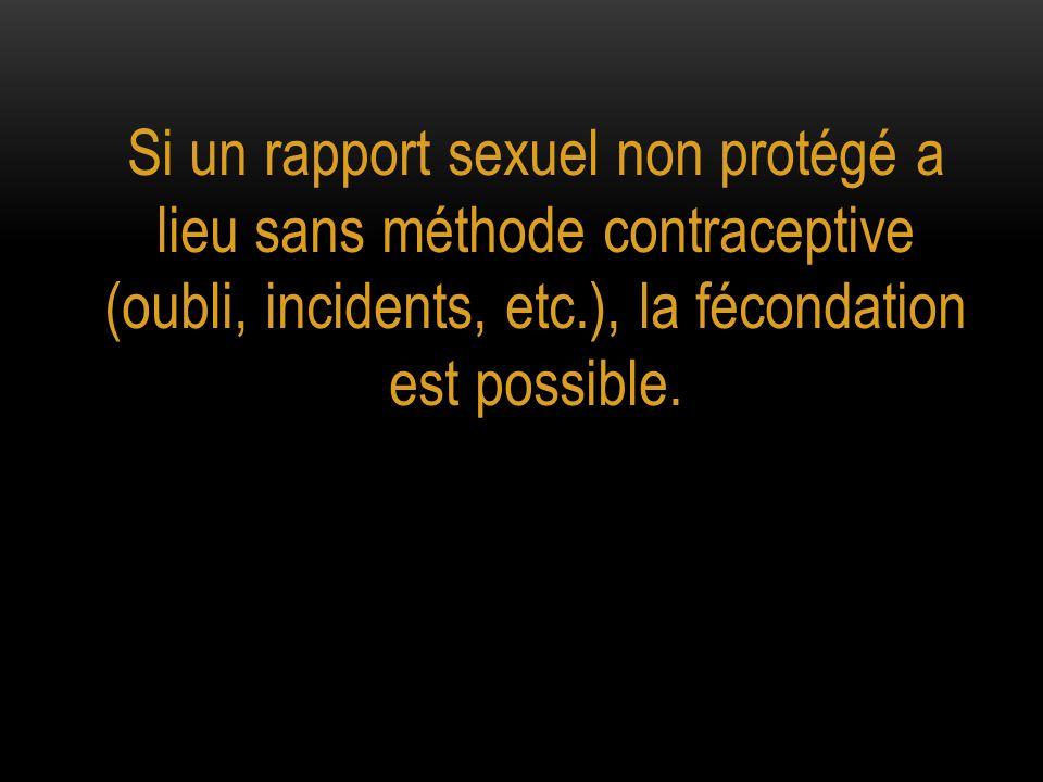 Si un rapport sexuel non protégé a lieu sans méthode contraceptive (oubli, incidents, etc.), la fécondation est possible.