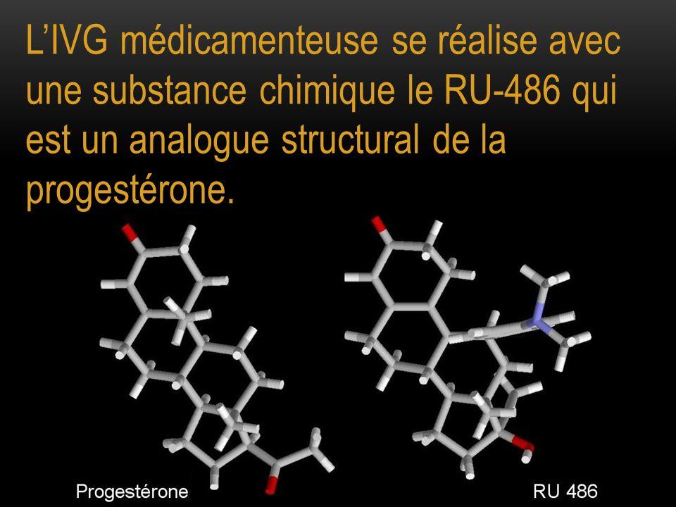 LIVG médicamenteuse se réalise avec une substance chimique le RU-486 qui est un analogue structural de la progestérone.