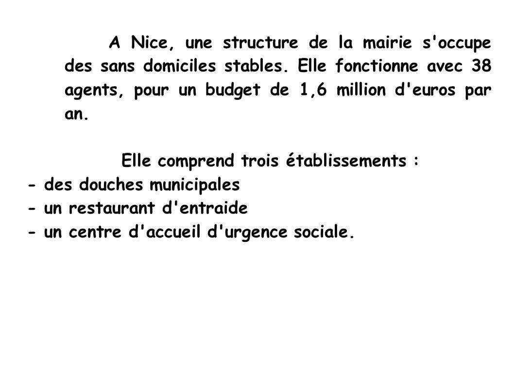 A Nice, une structure de la mairie s occupe des sans domiciles stables.