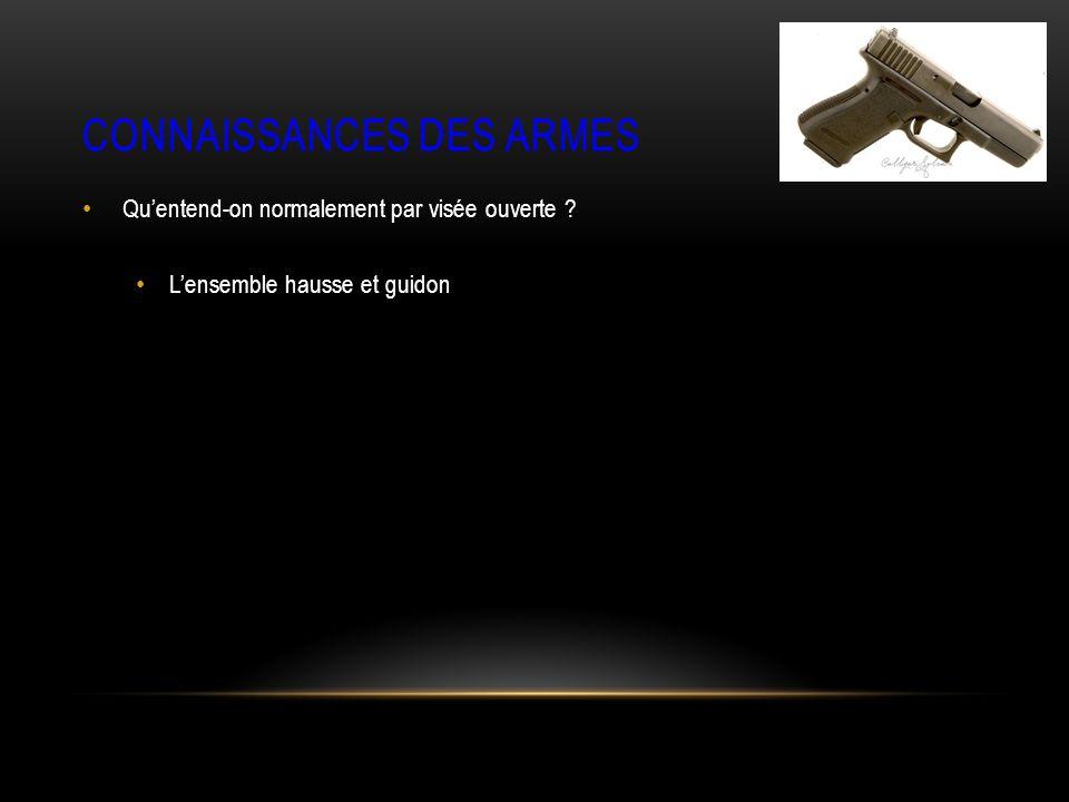 CONNAISSANCES DES ARMES Quentend-on normalement par visée ouverte Lensemble hausse et guidon