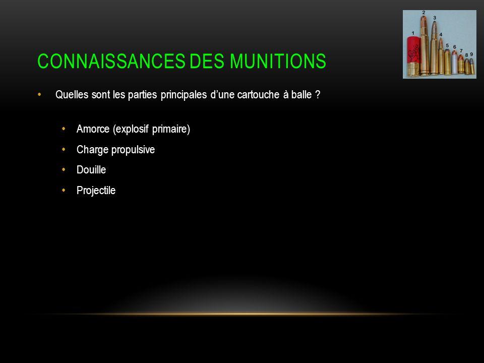 CONNAISSANCES DES MUNITIONS Quelles sont les parties principales dune cartouche à balle .
