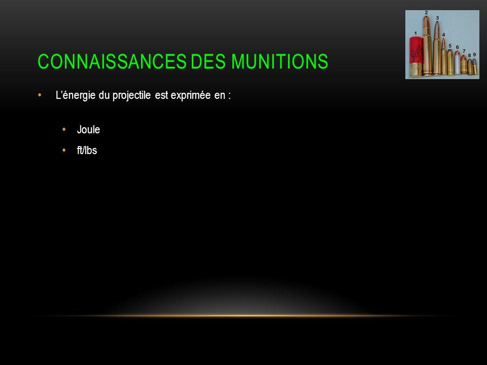 CONNAISSANCES DES MUNITIONS Lénergie du projectile est exprimée en : Joule ft/lbs
