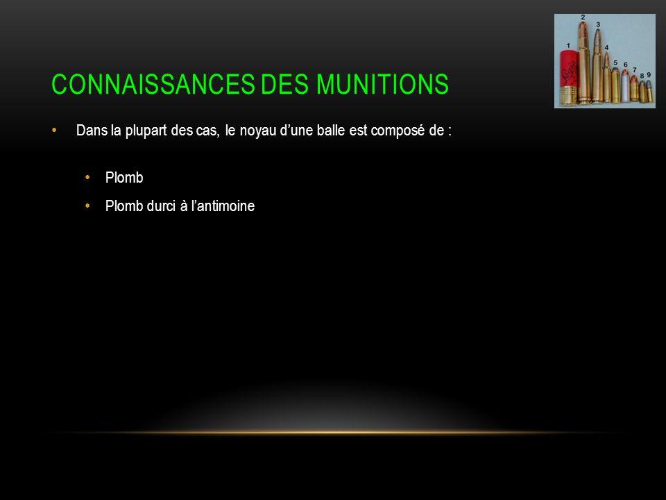 CONNAISSANCES DES MUNITIONS Dans la plupart des cas, le noyau dune balle est composé de : Plomb Plomb durci à lantimoine