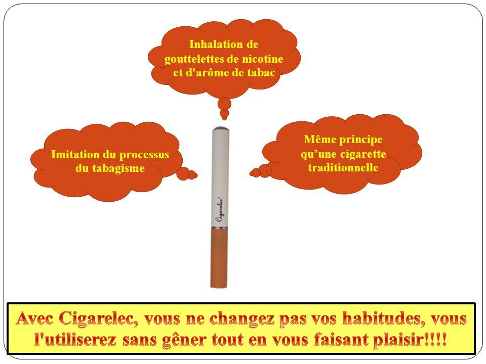 Même principe quune cigarette traditionnelle Inhalation de gouttelettes de nicotine et d arôme de tabac Imitation du processus du tabagisme