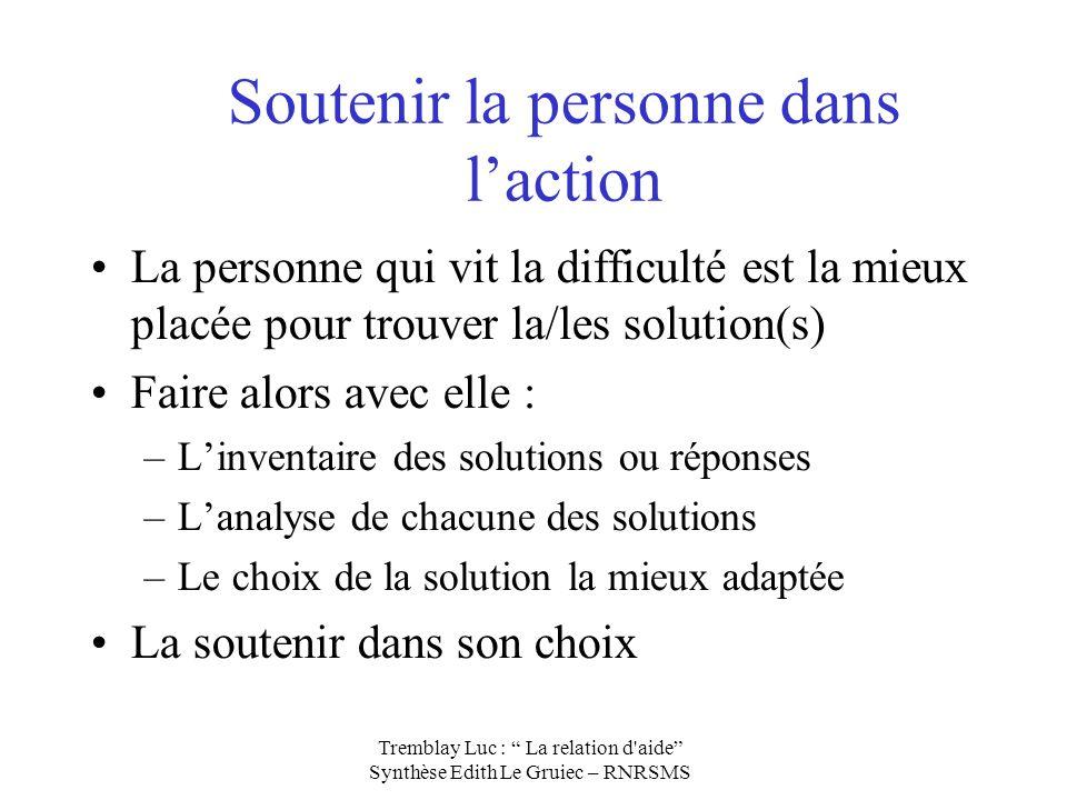 Soutenir la personne dans laction La personne qui vit la difficulté est la mieux placée pour trouver la/les solution(s) Faire alors avec elle : –Linve