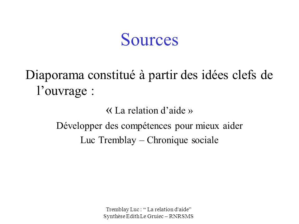 Sources Diaporama constitué à partir des idées clefs de louvrage : « La relation daide » Développer des compétences pour mieux aider Luc Tremblay – Ch
