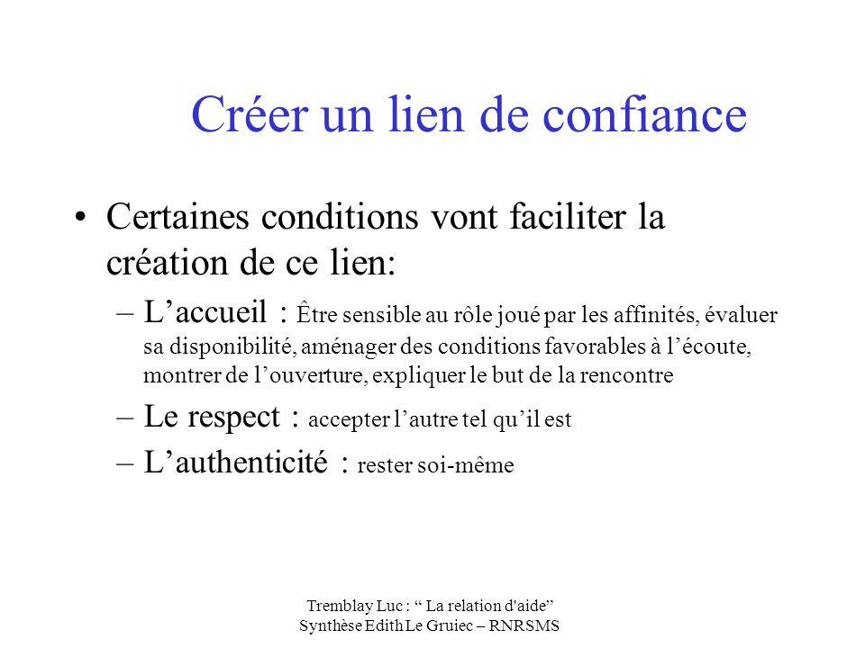 Créer un lien de confiance Certaines conditions vont faciliter la création de ce lien: –Laccueil : Être sensible au rôle joué par les affinités, évalu