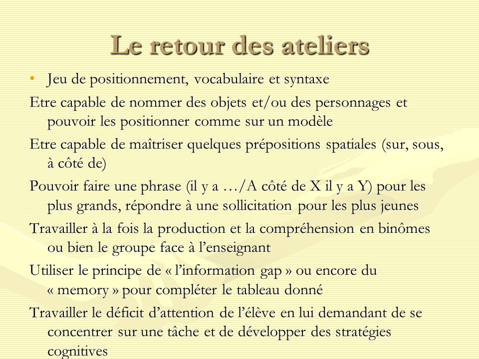 Le retour des ateliers Jeu de positionnement, vocabulaire et syntaxeJeu de positionnement, vocabulaire et syntaxe Etre capable de nommer des objets et/ou des personnages et pouvoir les positionner comme sur un modèle Etre capable de maîtriser quelques prépositions spatiales (sur, sous, à côté de) Pouvoir faire une phrase (il y a …/A côté de X il y a Y) pour les plus grands, répondre à une sollicitation pour les plus jeunes Travailler à la fois la production et la compréhension en binômes ou bien le groupe face à lenseignant Utiliser le principe de « linformation gap » ou encore du « memory » pour compléter le tableau donné Travailler le déficit dattention de lélève en lui demandant de se concentrer sur une tâche et de développer des stratégies cognitives