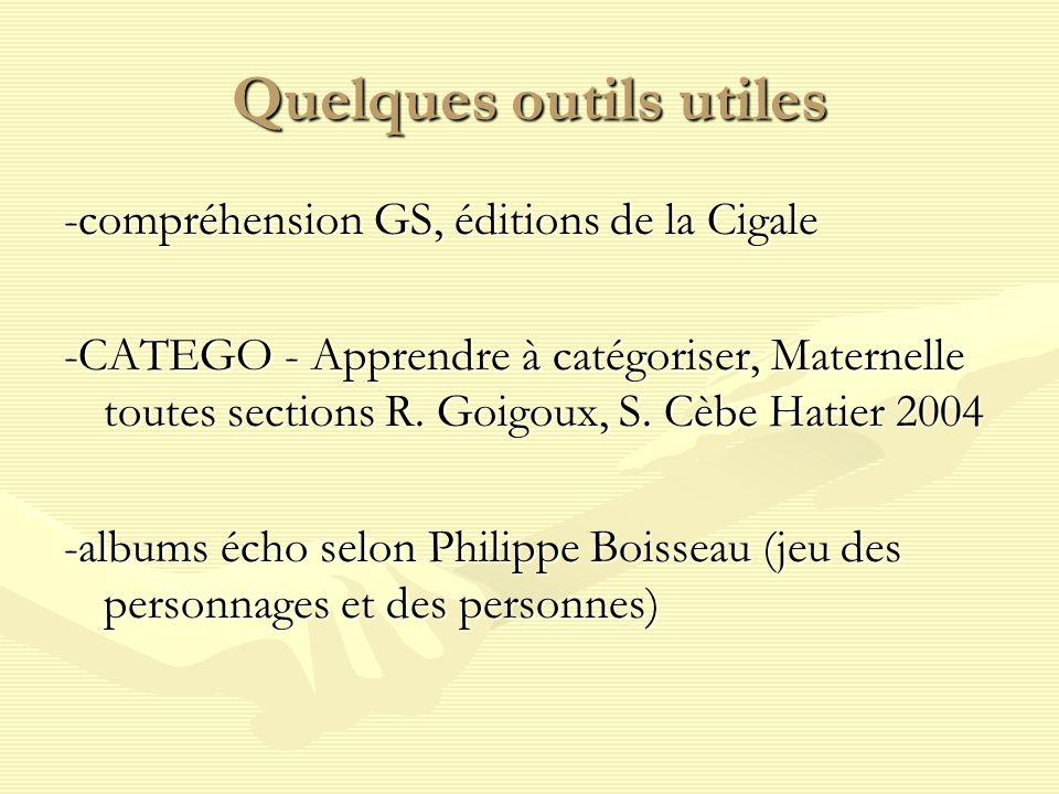 Quelques outils utiles -compréhension GS, éditions de la Cigale -CATEGO - Apprendre à catégoriser, Maternelle toutes sections R.