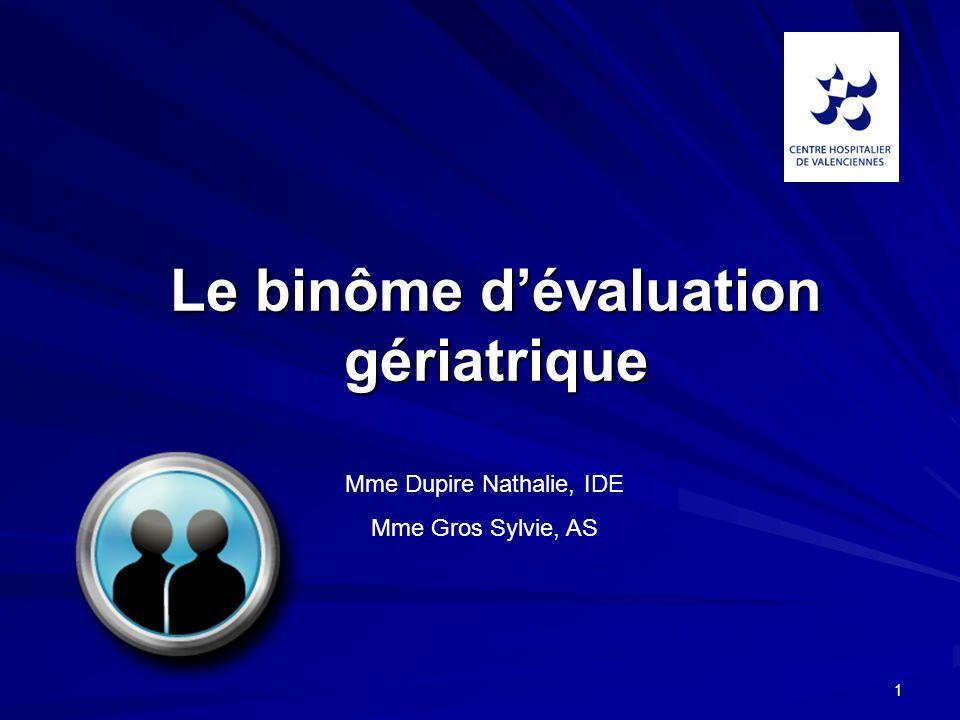 1 Le binôme dévaluation gériatrique Mme Dupire Nathalie, IDE Mme Gros Sylvie, AS