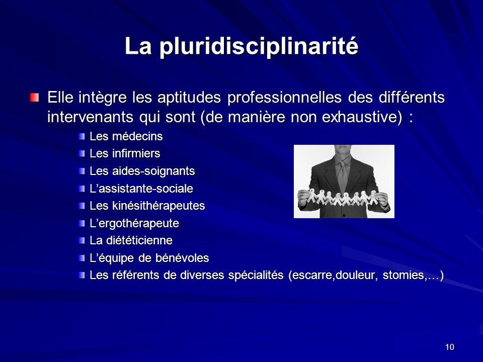 10 La pluridisciplinarité Elle intègre les aptitudes professionnelles des différents intervenants qui sont (de manière non exhaustive) : Les médecins