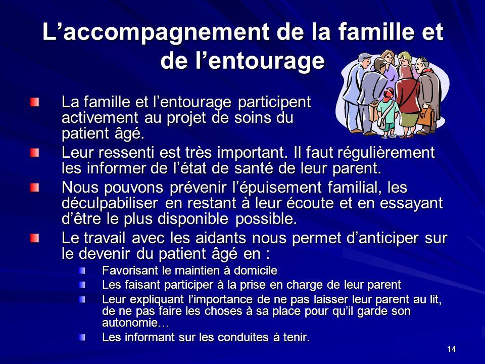 14 Laccompagnement de la famille et de lentourage La famille et lentourage participent activement au projet de soins du patient âgé. Leur ressenti est