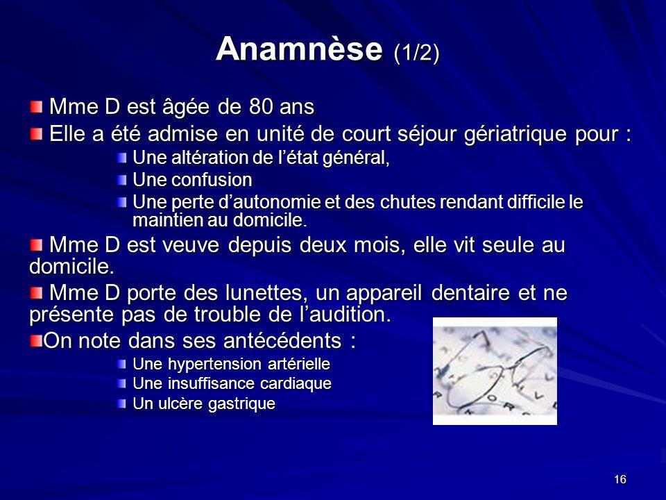 16 Anamnèse (1/2) Mme D est âgée de 80 ans Mme D est âgée de 80 ans Elle a été admise en unité de court séjour gériatrique pour : Elle a été admise en