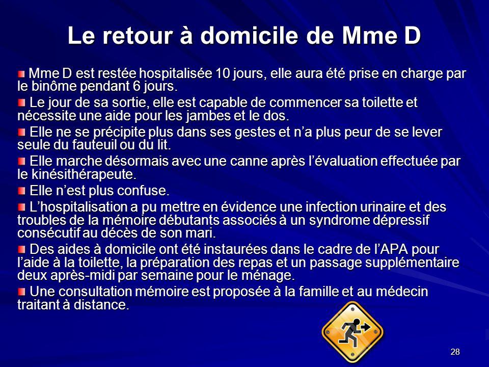 28 Le retour à domicile de Mme D Mme D est restée hospitalisée 10 jours, elle aura été prise en charge par le binôme pendant 6 jours. Mme D est restée