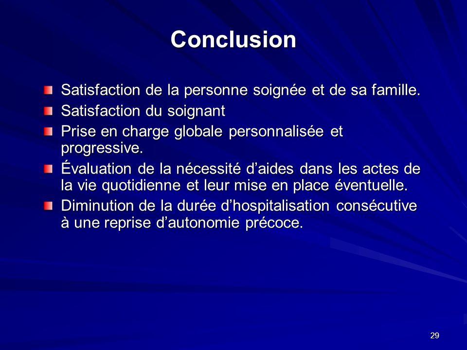 29 Conclusion Satisfaction de la personne soignée et de sa famille. Satisfaction du soignant Prise en charge globale personnalisée et progressive. Éva