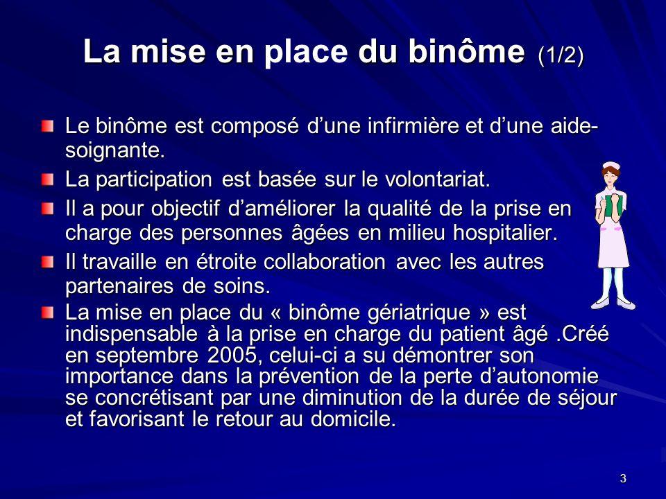 3 La mise en du binôme (1/2) La mise en place du binôme (1/2) Le binôme est composé dune infirmière et dune aide- soignante. La participation est basé