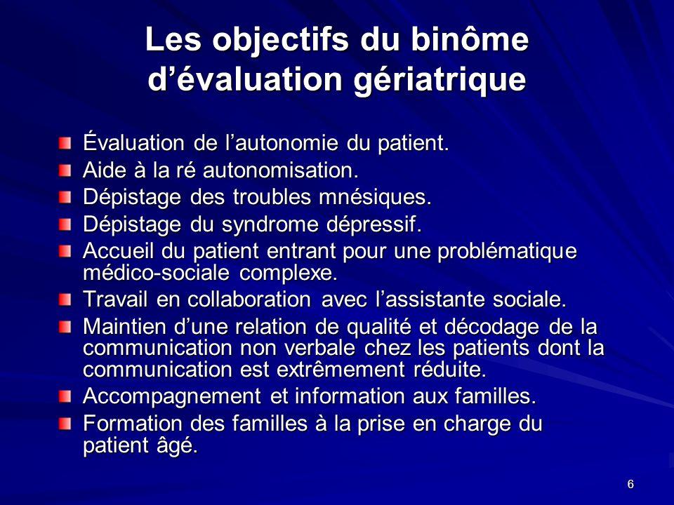 6 Les objectifs du binôme dévaluation gériatrique Évaluation de lautonomie du patient. Aide à la ré autonomisation. Dépistage des troubles mnésiques.