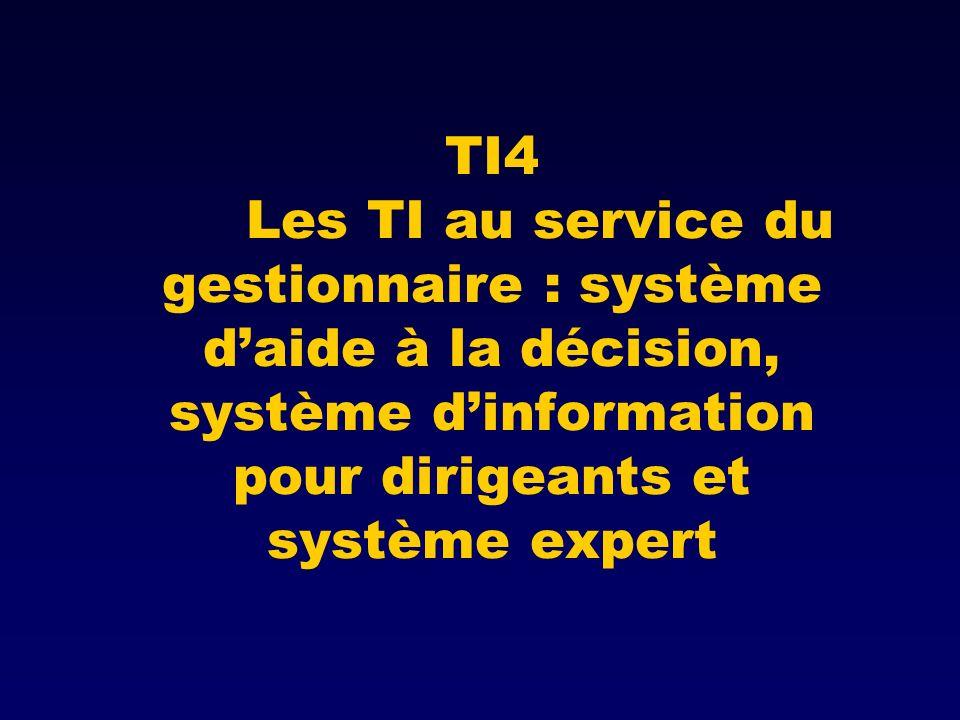 TI4 Les TI au service du gestionnaire : système daide à la décision, système dinformation pour dirigeants et système expert