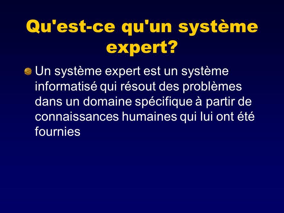 Qu'est-ce qu'un système expert? Un système expert est un système informatisé qui résout des problèmes dans un domaine spécifique à partir de connaissa