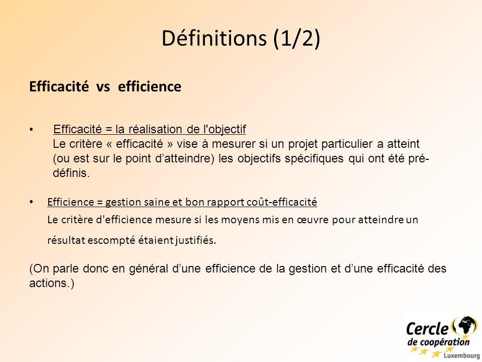 Définitions (1/2) Efficacité vs efficience Efficience = gestion saine et bon rapport coût-efficacité Le critère d efficience mesure si les moyens mis en œuvre pour atteindre un résultat escompté étaient justifiés.