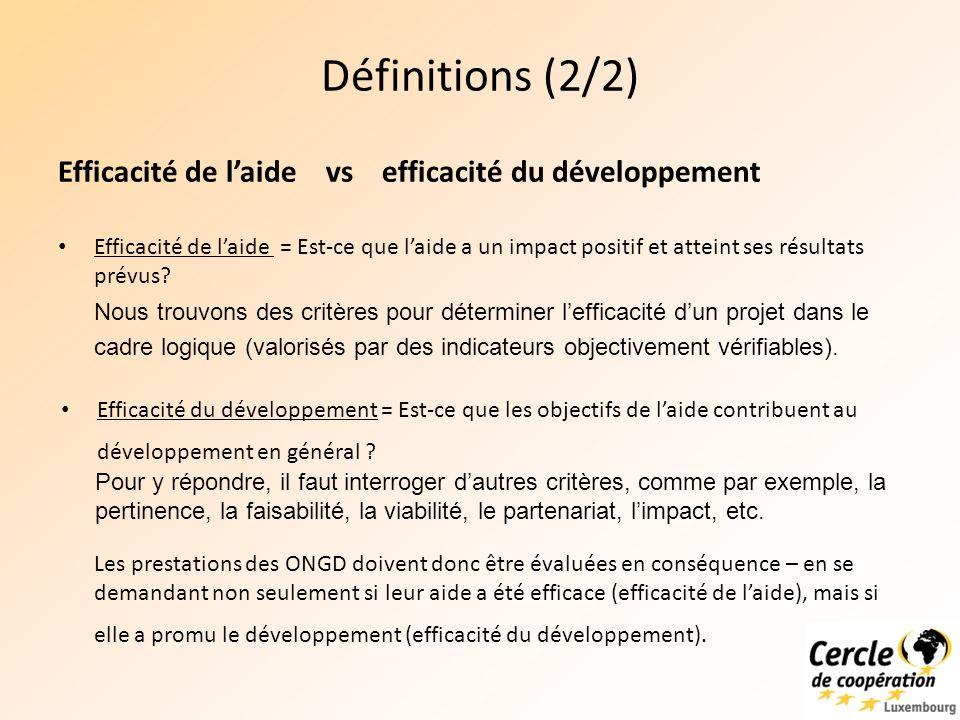 Définitions (2/2) Efficacité de laide = Est-ce que laide a un impact positif et atteint ses résultats prévus.