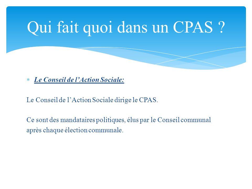 Le Conseil de lAction Sociale: Le Conseil de lAction Sociale dirige le CPAS. Ce sont des mandataires politiques, élus par le Conseil communal après ch