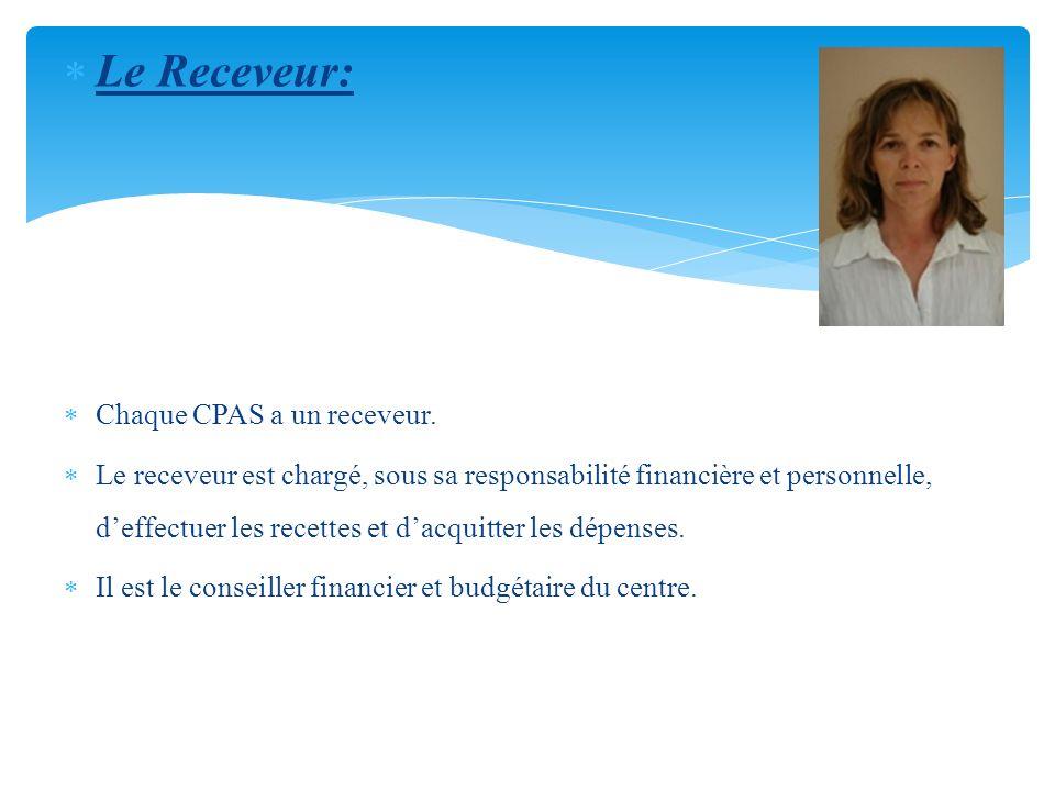 Le Receveur: Chaque CPAS a un receveur. Le receveur est chargé, sous sa responsabilité financière et personnelle, deffectuer les recettes et dacquitte