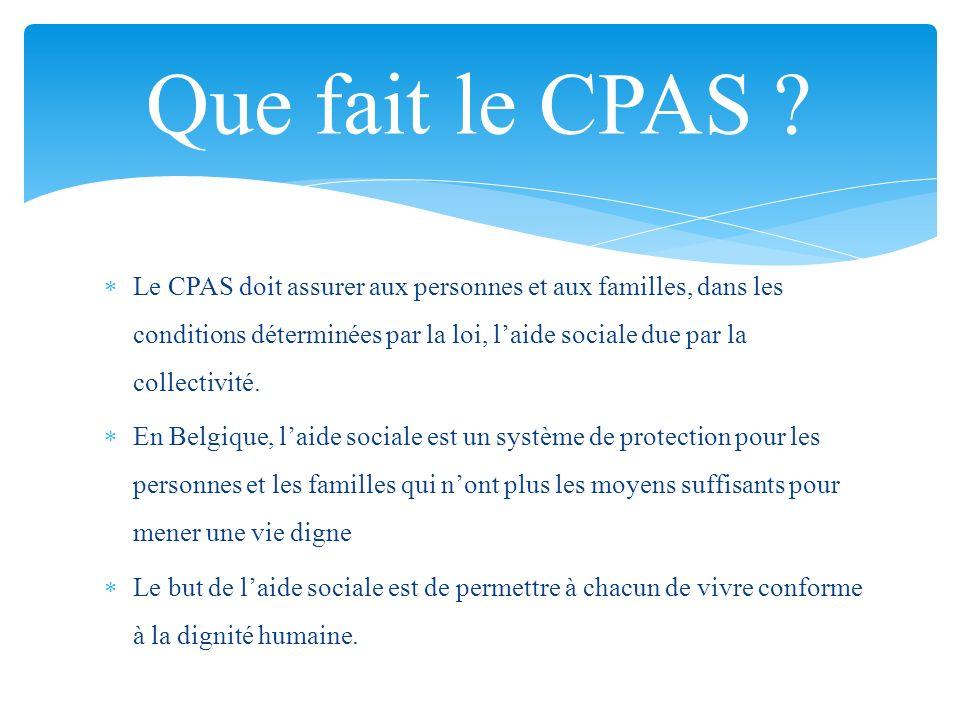 Le CPAS doit assurer aux personnes et aux familles, dans les conditions déterminées par la loi, laide sociale due par la collectivité. En Belgique, la