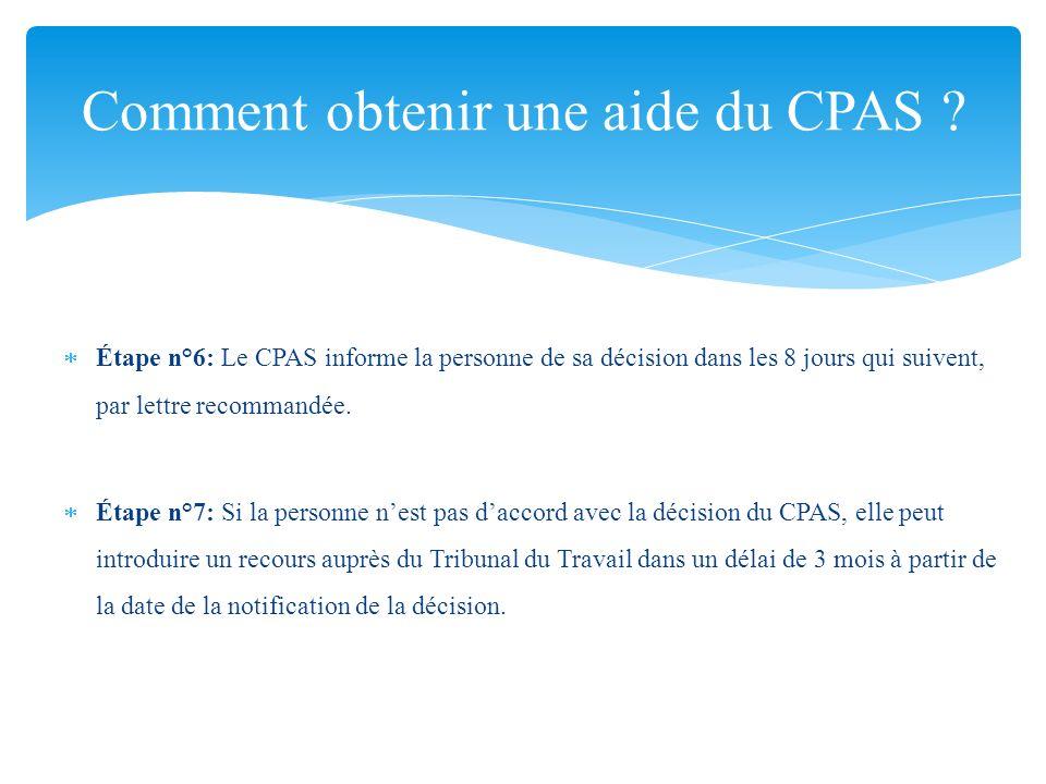 Étape n°6: Le CPAS informe la personne de sa décision dans les 8 jours qui suivent, par lettre recommandée. Étape n°7: Si la personne nest pas daccord