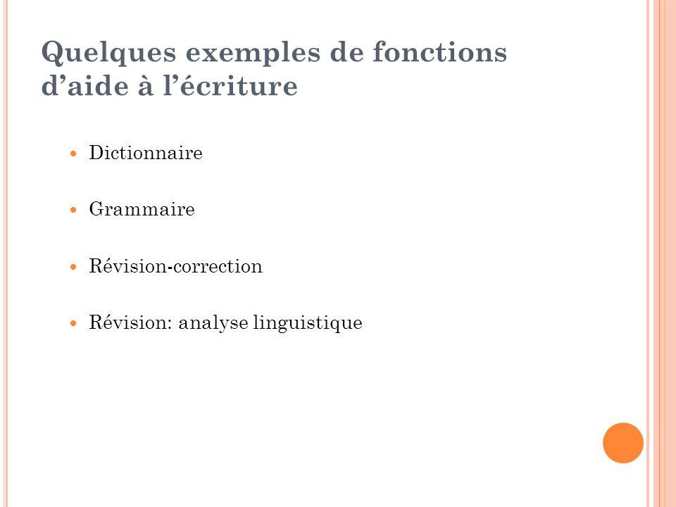 Quelques exemples de fonctions daide à lécriture Dictionnaire Grammaire Révision-correction Révision: analyse linguistique