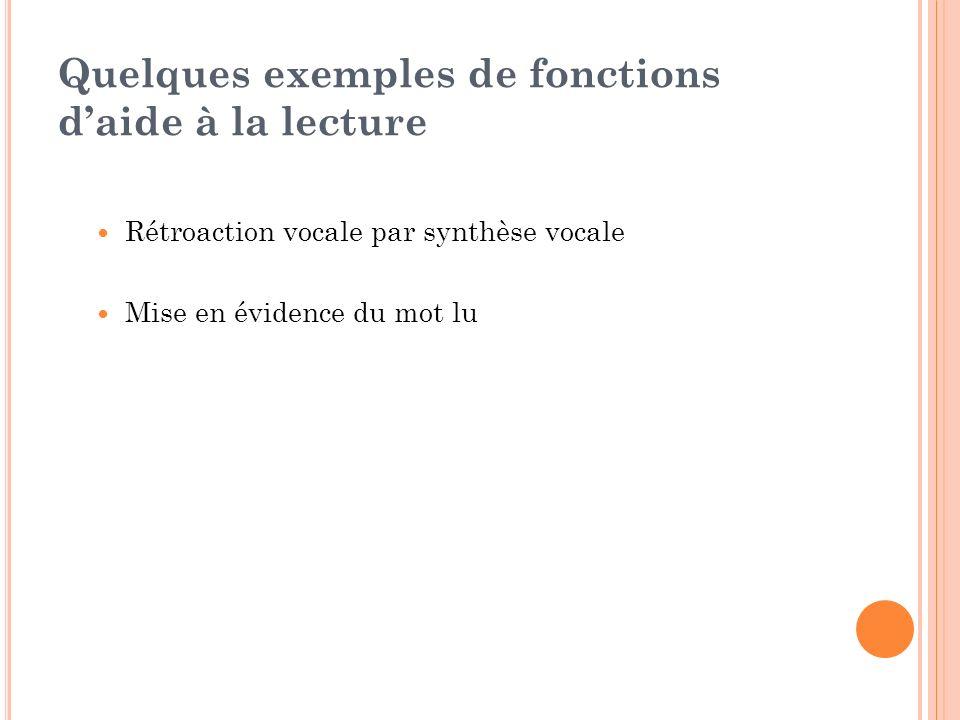 Quelques exemples de fonctions daide à la lecture Rétroaction vocale par synthèse vocale Mise en évidence du mot lu