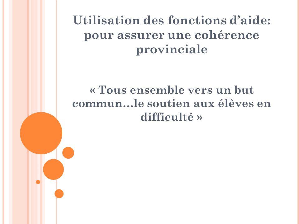 Utilisation des fonctions daide: pour assurer une cohérence provinciale « Tous ensemble vers un but commun…le soutien aux élèves en difficulté »