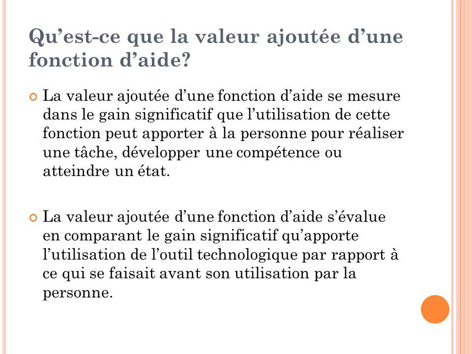 Quest-ce que la valeur ajoutée dune fonction daide.
