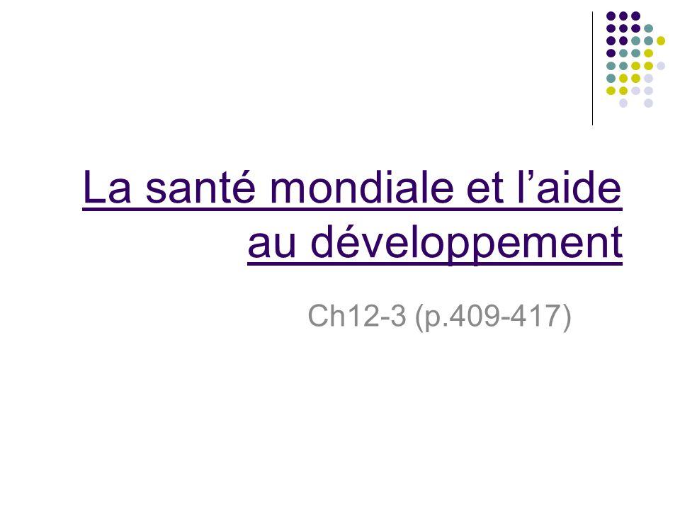 La santé mondiale et laide au développement Ch12-3 (p.409-417)