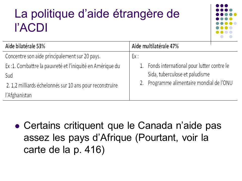 La politique daide étrangère de lACDI Certains critiquent que le Canada naide pas assez les pays dAfrique (Pourtant, voir la carte de la p. 416)