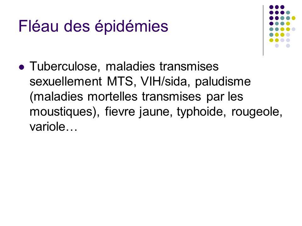 Fléau des épidémies Tuberculose, maladies transmises sexuellement MTS, VIH/sida, paludisme (maladies mortelles transmises par les moustiques), fievre