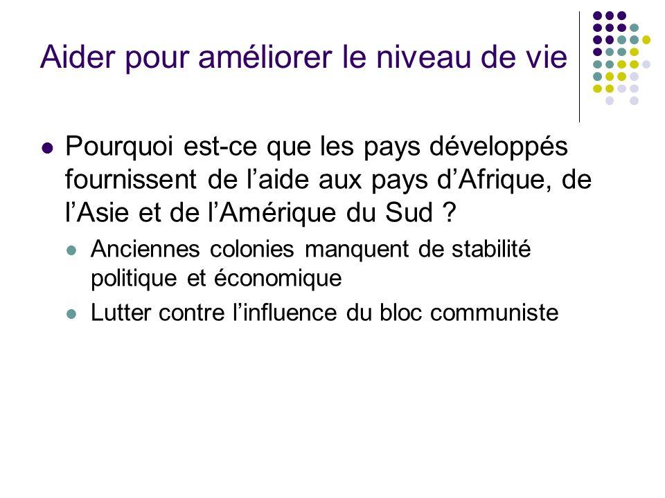 Aider pour améliorer le niveau de vie Pourquoi est-ce que les pays développés fournissent de laide aux pays dAfrique, de lAsie et de lAmérique du Sud