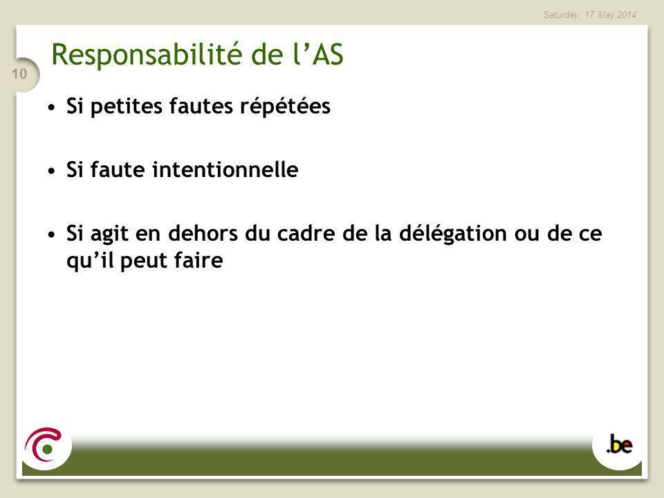 Saturday, 17 May 2014 10 Responsabilité de lAS Si petites fautes répétées Si faute intentionnelle Si agit en dehors du cadre de la délégation ou de ce