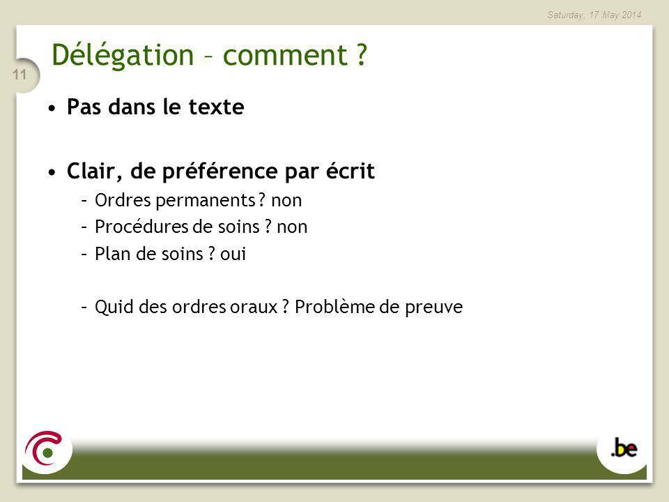 Saturday, 17 May 2014 11 Délégation – comment ? Pas dans le texte Clair, de préférence par écrit –Ordres permanents ? non –Procédures de soins ? non –