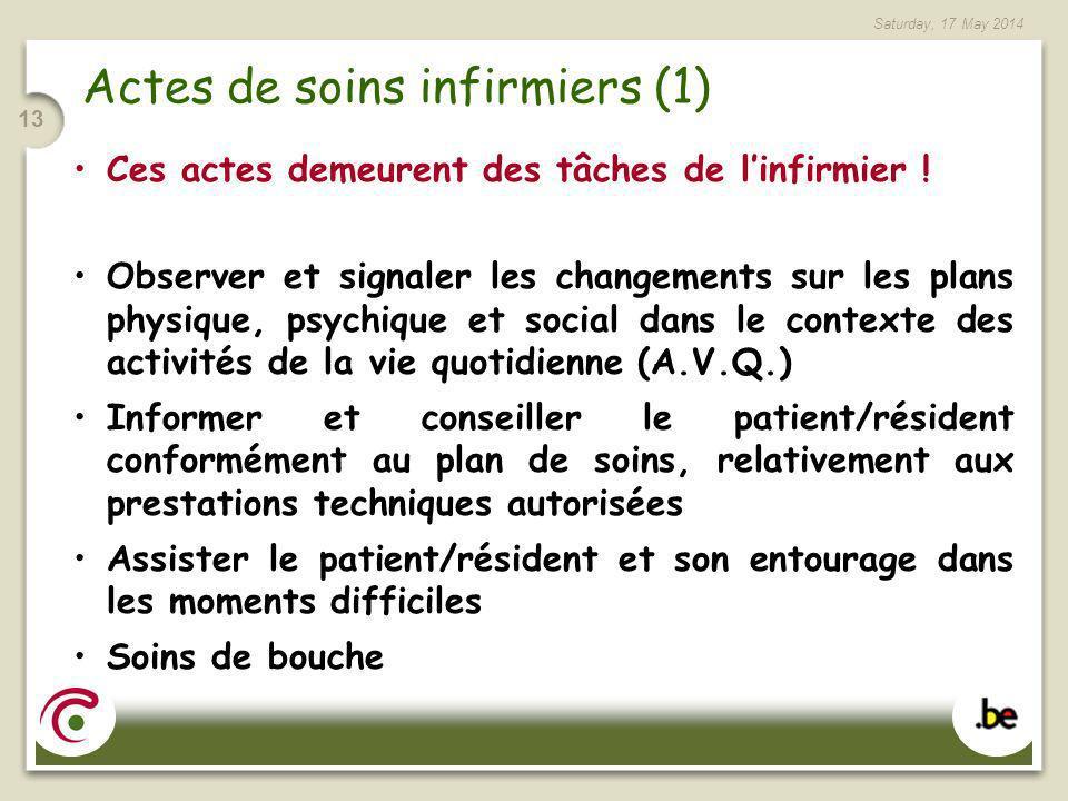 Saturday, 17 May 2014 13 Actes de soins infirmiers (1) Ces actes demeurent des tâches de linfirmier ! Observer et signaler les changements sur les pla