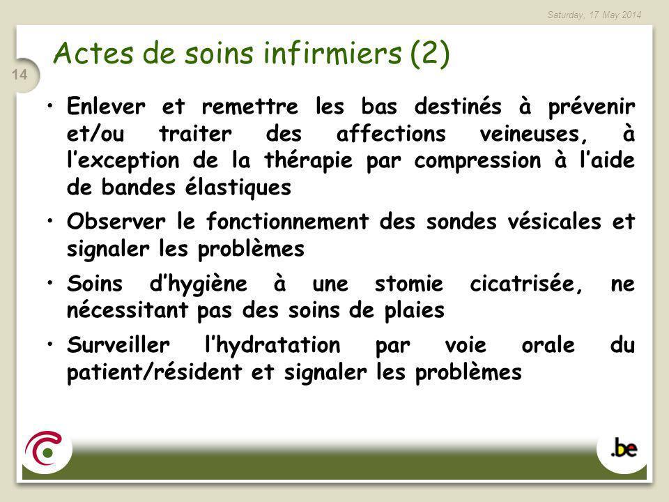 Saturday, 17 May 2014 14 Actes de soins infirmiers (2) Enlever et remettre les bas destinés à prévenir et/ou traiter des affections veineuses, à lexce