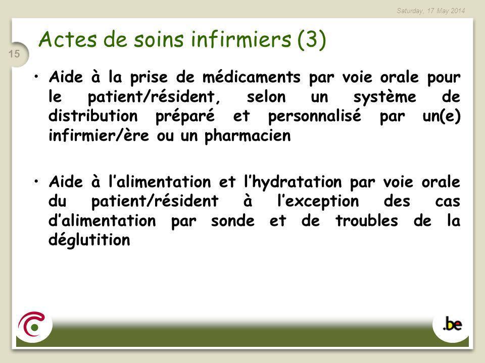 Saturday, 17 May 2014 15 Actes de soins infirmiers (3) Aide à la prise de médicaments par voie orale pour le patient/résident, selon un système de dis