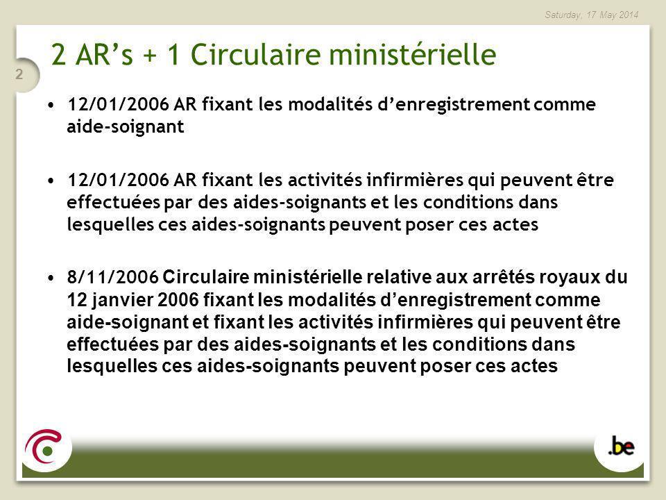 Saturday, 17 May 2014 2 2 ARs + 1 Circulaire ministérielle 12/01/2006 AR fixant les modalités denregistrement comme aide-soignant 12/01/2006 AR fixant