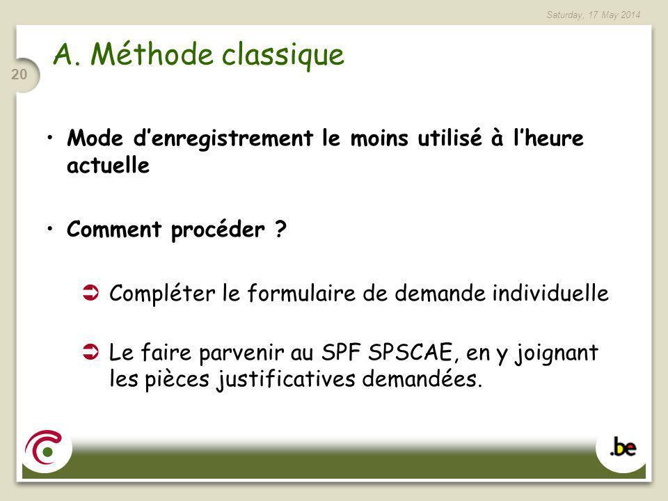 Saturday, 17 May 2014 20 A. Méthode classique Mode denregistrement le moins utilisé à lheure actuelle Comment procéder ? Compléter le formulaire de de