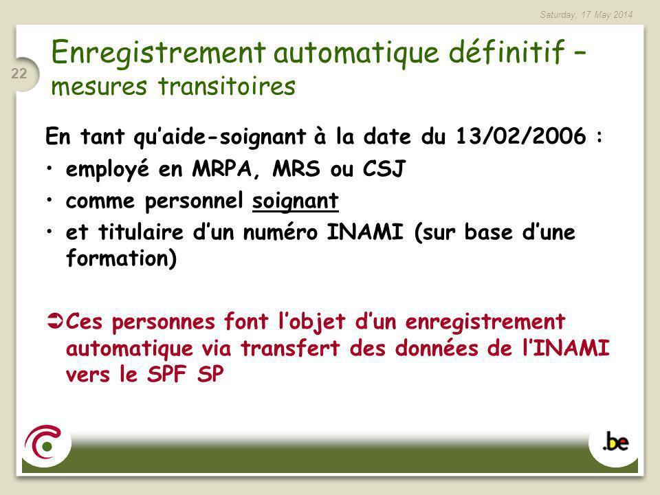Saturday, 17 May 2014 22 Enregistrement automatique définitif – mesures transitoires En tant quaide-soignant à la date du 13/02/2006 : employé en MRPA