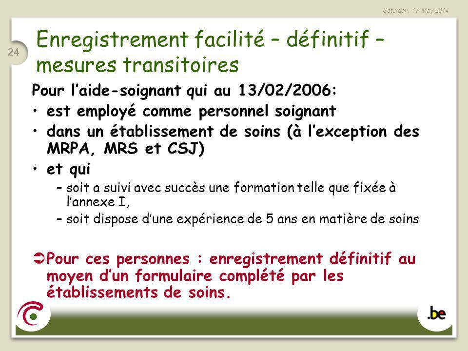Saturday, 17 May 2014 24 Enregistrement facilité – définitif – mesures transitoires Pour laide-soignant qui au 13/02/2006: est employé comme personnel